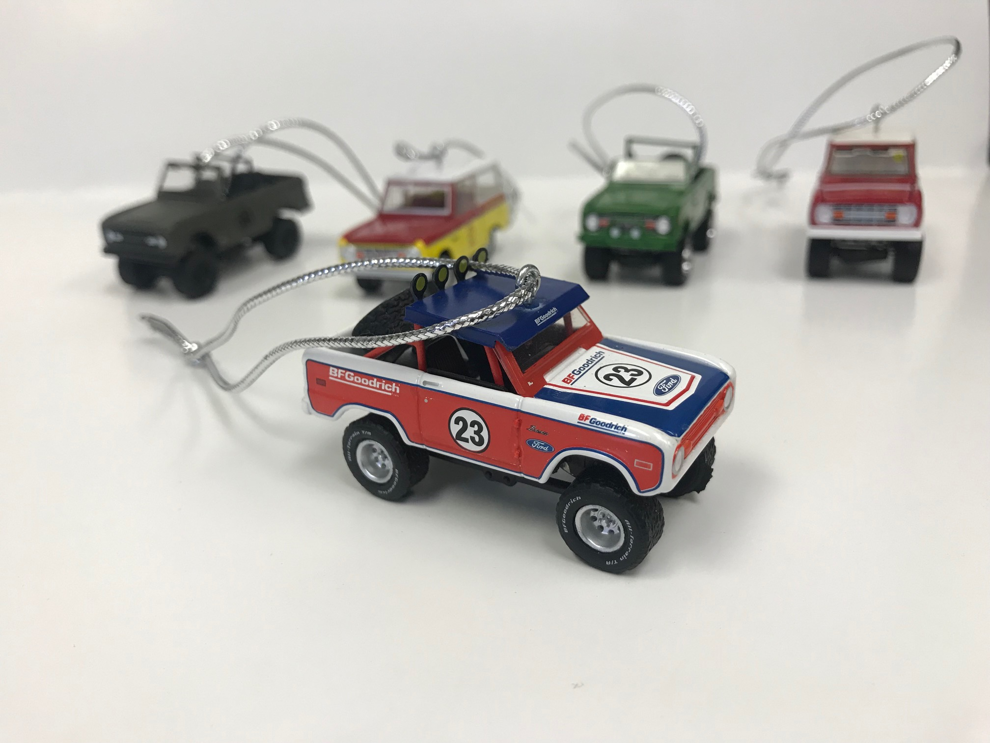Christmas Ornament 1966 Ford Bronco - Running on Empty, BFGoodrich, 1:64 Die Cast