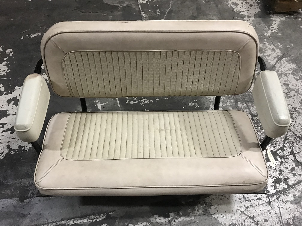 Rear Factory Bench Seat, Parchment, Used, 66-77 Ford Bronco #5