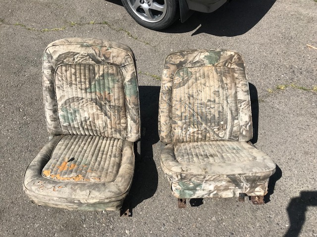 OE Front Parchment Bucket Seats, 66-77 Ford Bronco, Used #1