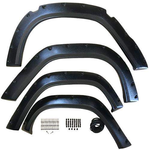 Pocket Style Bronco Fender Flares, Full Set, Textured Black, 66-76 Bronco