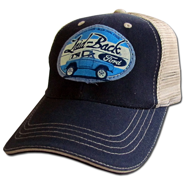 "Trucker Hat - Laid Back ""Halfway Bronco"", Navy Blue & Khaki"