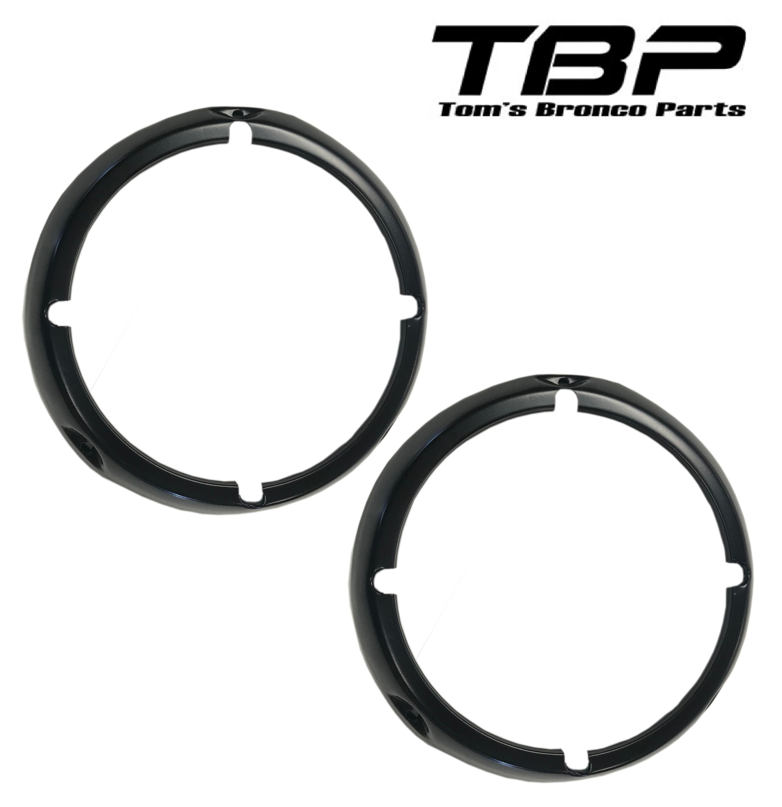 Black Headlight Bezel Rings, 71-77 Ford Bronco, pair