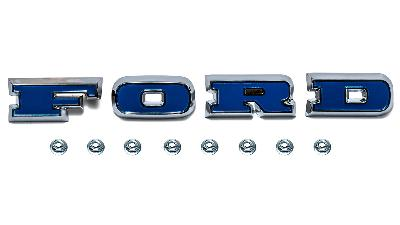 """Blue Bronco """"FORD"""" grill letters with mounting nuts"""