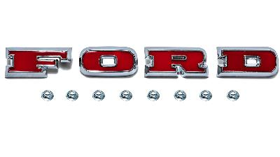 """Red """"FORD"""" grill letters with chrome surround for 66-77 Ford Bronco with mounting nuts."""