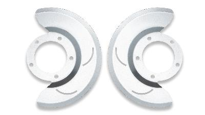 Early Bronco front disc brake dust shields