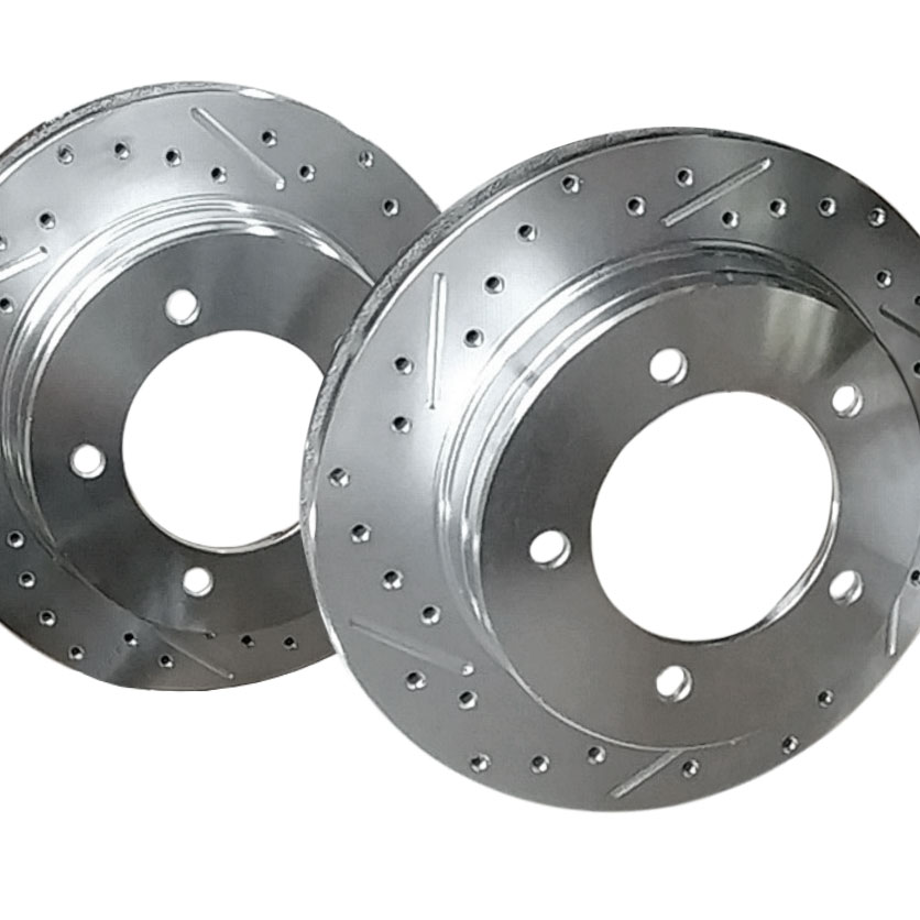 Slotted & Drilled Rear Disc Brake Conversion Rotors, PAIR
