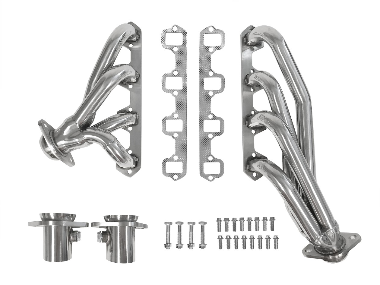 Ceramic Coated Steel Shorty Headers, w/ Mounting Hardware (fits 289, 302)