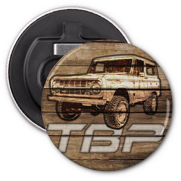 Tom's Bronco Parts Magnet w/Bottle Opener, TBP Wood Design