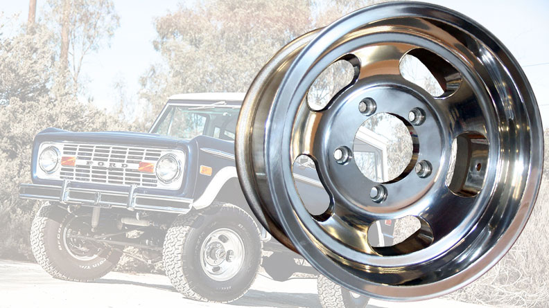 US Mags Slotted Indy Wheel, Polished Aluminum - 15x7, 5x5.5 Bolt Pattern - 66-77 Bronco