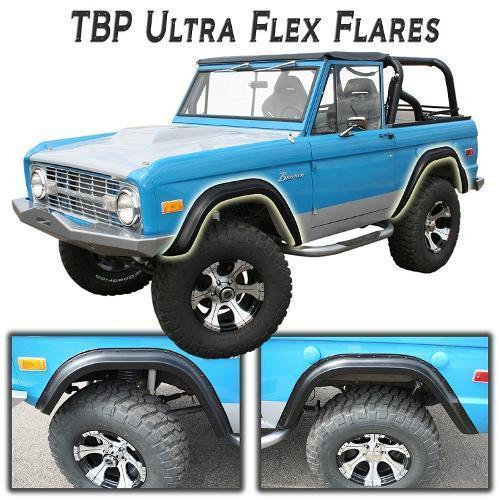 TBP Ultra-Flex Bronco Fender Flares, Full Set, Smooth Black USED