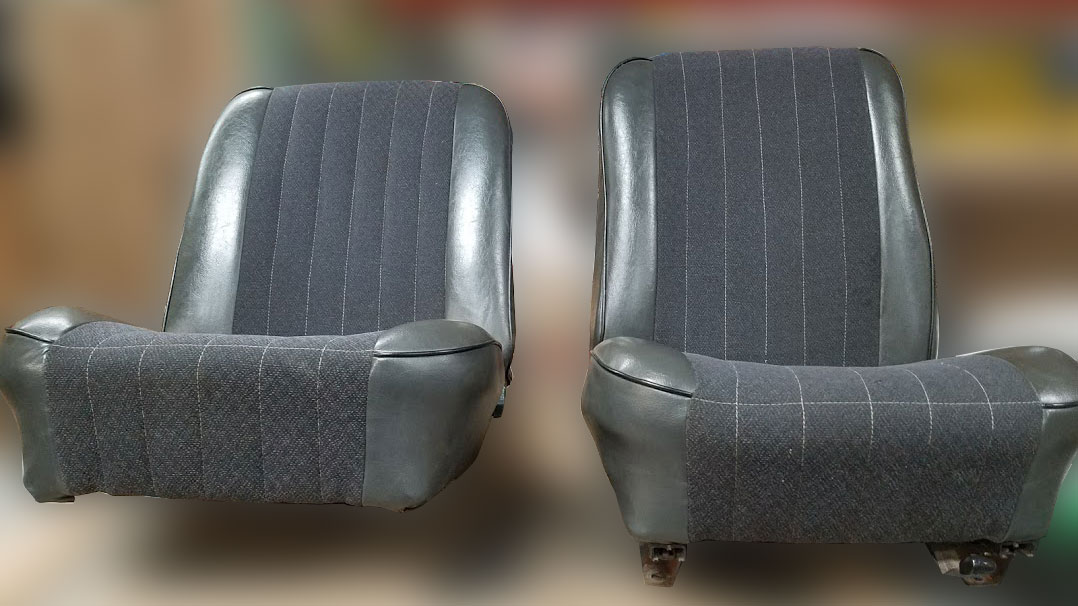 OE Front Gray Bucket Seats, 66-77 Ford Bronco, Used #1