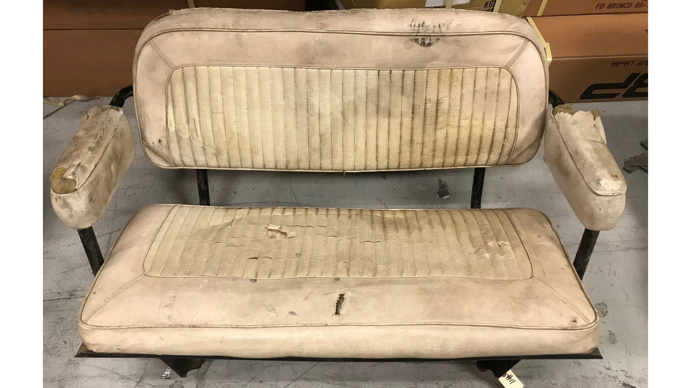 Rear Factory Bench Seat, Parchment, Used, 66-77 Ford Bronco #11