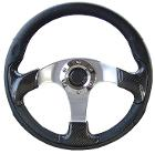 Custom Steering Wheel - Carbon Fiber w/Adapter, 66-77 Ford Bronco, New