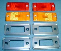 Marker Lens & Bezel Kit - 2 Amber Lens, 2 Red Lens & 4 Bezels, 70-77 Bronco