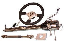 Tilt Column Kit - Automatic, Polished, Includes Custom Steering Wheel