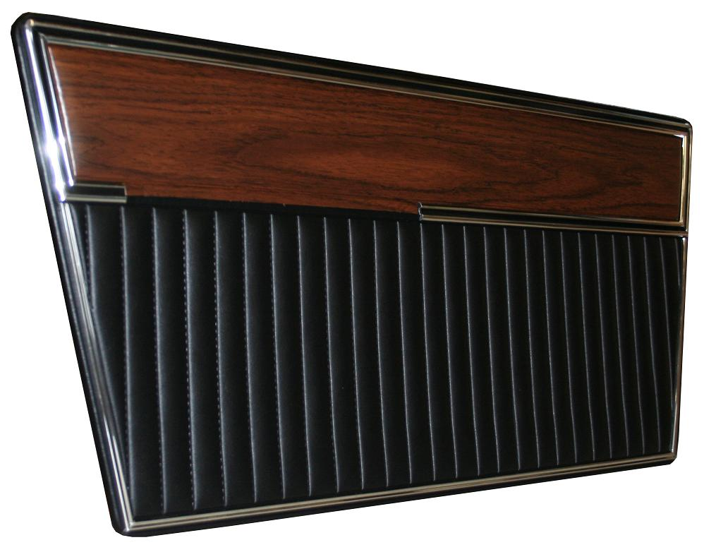 Door Panels - Deluxe, Black w/Woodgrain, Pair, 68-77 Ford Bronco