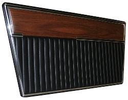Door Panels - Deluxe, Black w/Woodgrain, Pair, 68-77 Ford Bronco