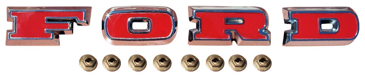 Ford Grill Letters - OE-Style, Red Plastic Inserts