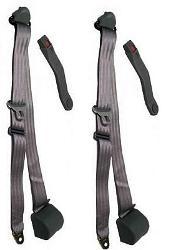 Seat Belts - 3 Point Shoulder Belt Kit, Black, 66-77 Ford Bronco, New (per pair)