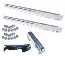 Two SHOW-Chrome Bumpers, Bumperettes, and Bolt Kits, COMPLETE KIT!