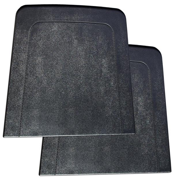 Front Seat Back Trim Panels, Black Plastic, 67-77 Ford Bronco, pair