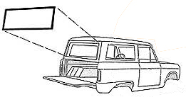 Liftgate Window Seal - Slotted for Chrome, 66-77 Ford Bronco, New