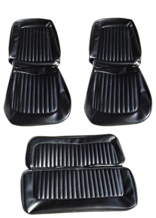 Seat Upholstery - Black Vinyl, Full Set,  68-77 Ford Bronco