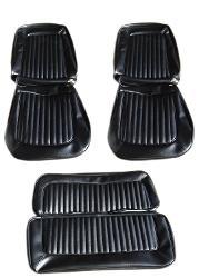 Seat Upholstery - Black Vinyl, Full Set,  68-77 Ford Bronco