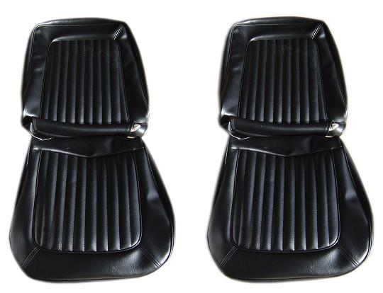 Front Bucket Seat Upholstery, Black Vinyl, 66-77 Ford Bronco, pair