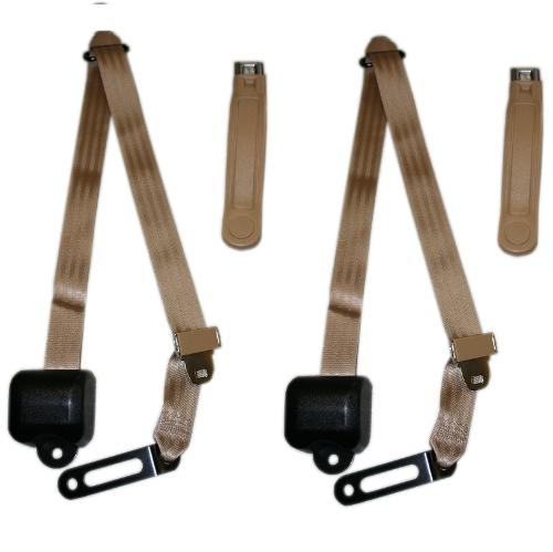 Seat Belts - 3 Point Shoulder Belt Kit, Tan (per pair)