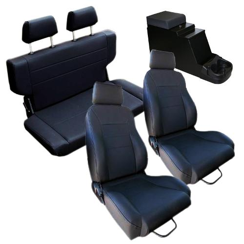 Complete Set Custom Seats w/Center Console, Black