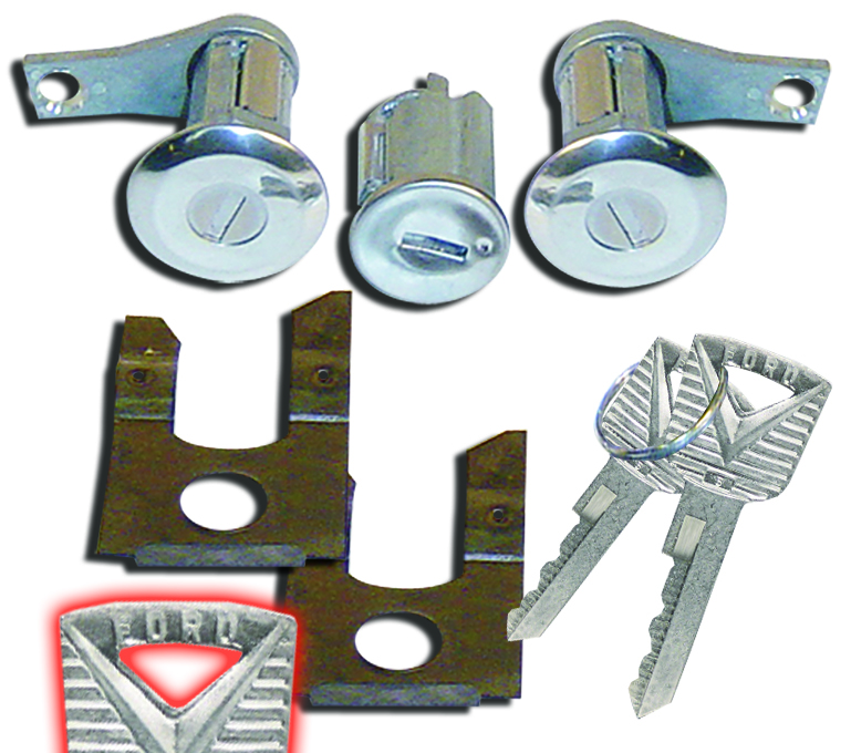 FORD Door Lock Set w/Matching Ignition Cylinder & Keys, 66-67 Ford Bronco