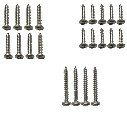 Stainless Steel Light Lens Screw Kit, 70-77 Ford Bronco