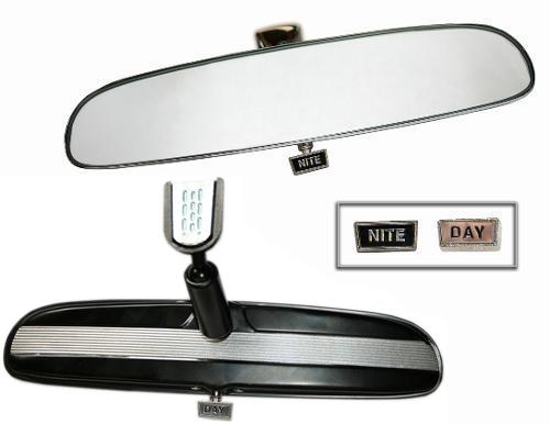 Rear View Mirror, BLACK w/Silver - Day/Night