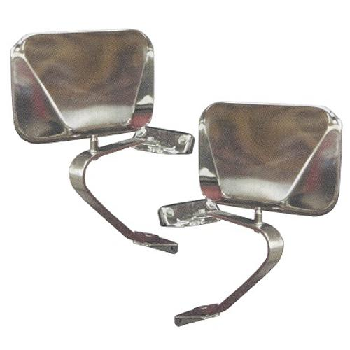 Stainless Fold-Away Side Mirrors, 66-77 / 78-96 Ford Bronco, Pair