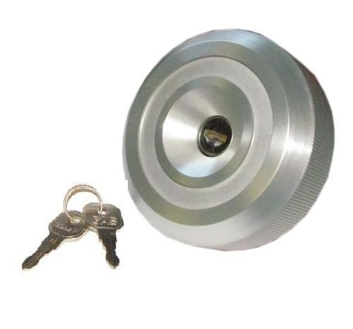 Fuel Cap, Locking Short Reach, Silver, 66-71.5 Ford Bronco