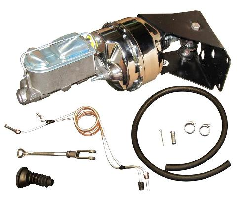 Power Brake Kit w/Chrome Booster - No Modify Conversion w/ Disc Lines, 66-77 Ford Bronco, New