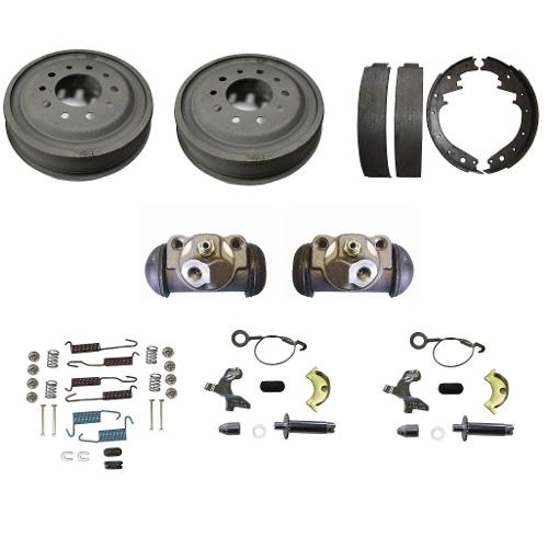 Front Drum Brake Rebuild Kit w/ Cast Drums, 70-75 Ford Bronco
