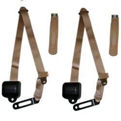 Seat Belts - 3 Point Shoulder Belt Kit, Tan (per pair)