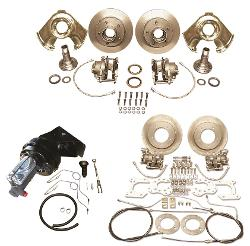 Four Wheel Power Disc Brake Conversion Kit - 11'' Rear Drums, 66-75 Ford Bronco, All New Parts