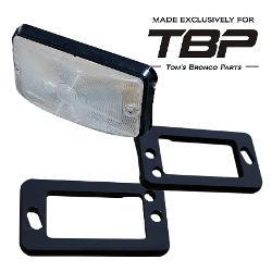 BLACK Billet Aluminum Turn Signal Pads/Bezels - 69-77 Ford Bronco, pair TBP EXCLUSIVE