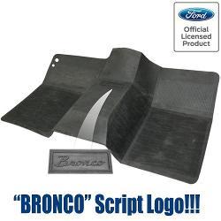 Black Rubber Front Floor Mat w/Bronco Script - OE STYLE