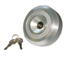 Fuel Cap, Locking Long Reach, Silver, 71.5-76 Early Ford Bronco