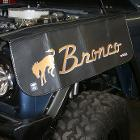 Mechanic's Fender Cover w/Bronco Script & Bucking Horse Logo, 66-77 Ford Bronco, New