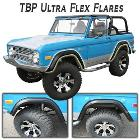 TBP Ultra-Flex Bronco Fender Flares, Full Set, Smooth Black