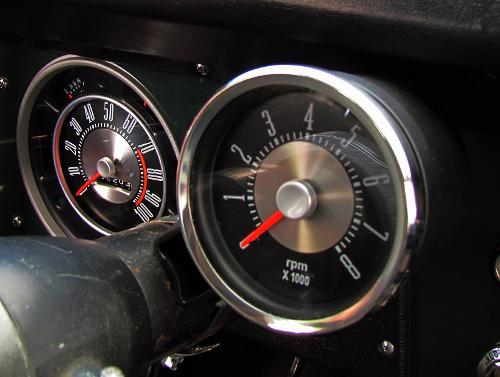 "OE Style Tachometer w/Mounting Cup - Single Digit, 6cyl/V-8, 3 3/8"" Dia,"