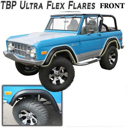 TBP Ultra-Flex Bronco Fender Flares, FRONT ONLY Smooth Black