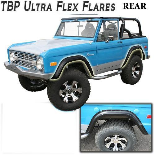 TBP Ultra-Flex Bronco Fender Flares, REAR ONLY Smooth Black